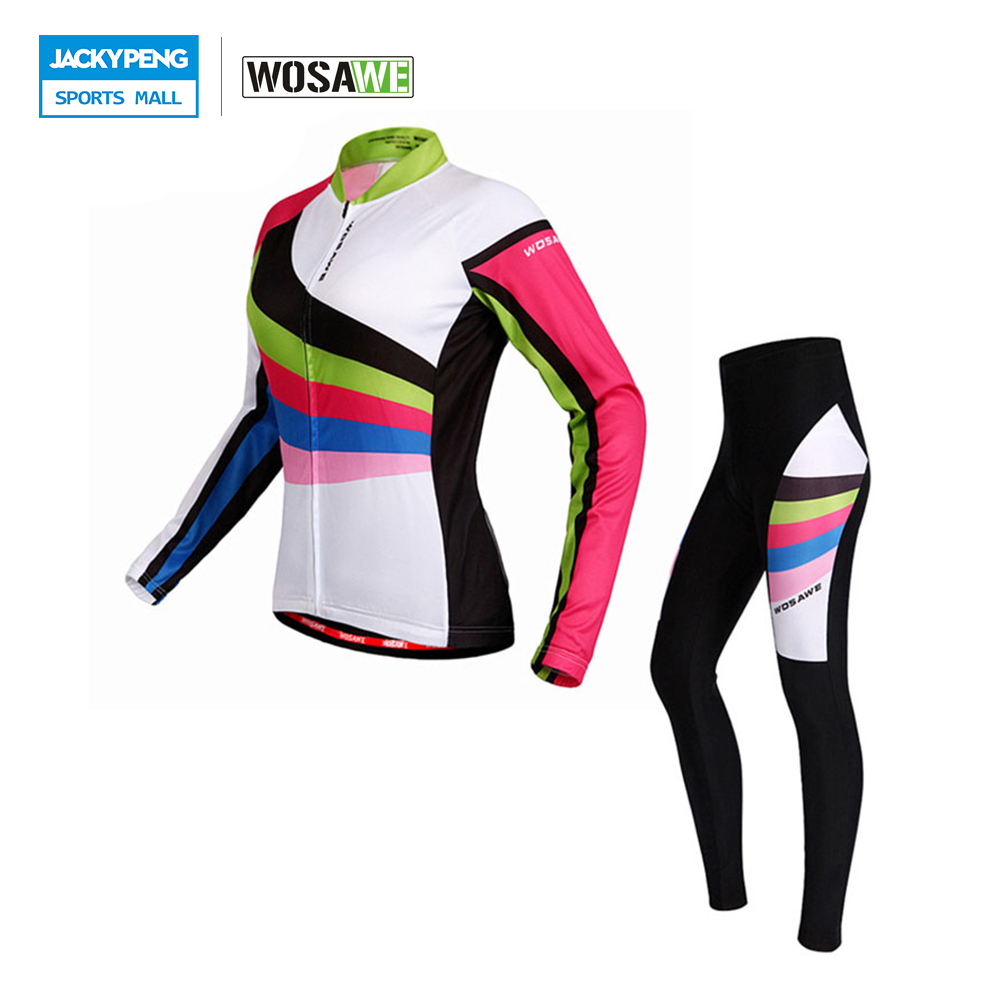 WOSAWE Spring & Autumn Women's  Cycling Long Jersey Breathable Padded Pants Bike Bicycle Tights Cycling Sets Ropa Clismo wosawe men s long sleeve cycling jersey sets breathable gel padded mtb tights sportswear for all season cycling clothings
