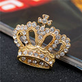 New Fashion Women's  Yellow Gold Filled Austrian Crystal Cross Crown Brooch Pin Gift Jewelry F004