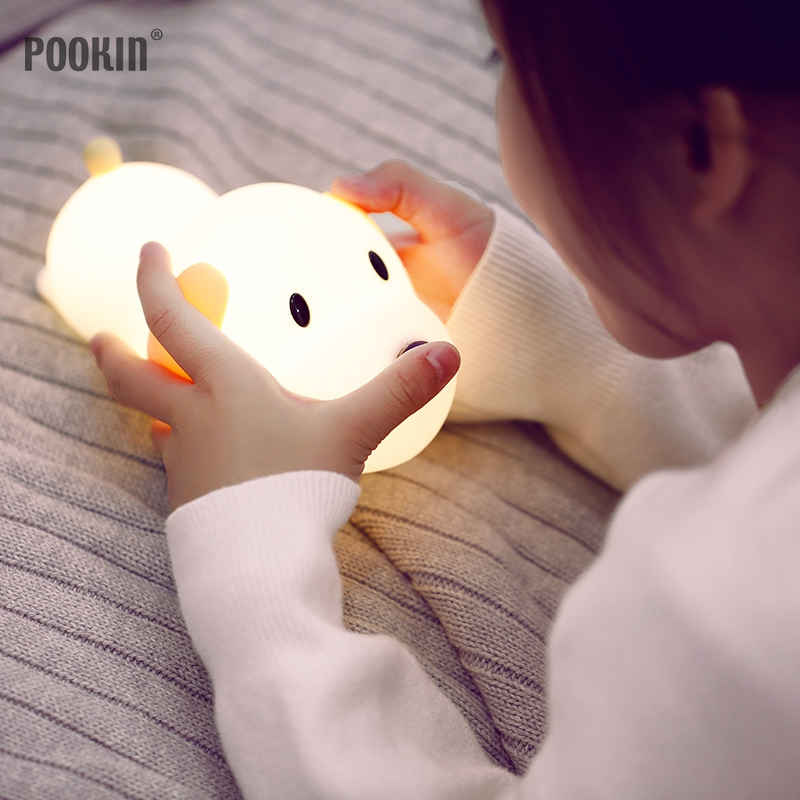 Papa Puppy Silicone Touch Luminous Led Bedside Lamp USB Rechargeable Dimmable Timing Cute Night Lamp Christmas Bedroom Light cute rechargeable led the spiderwick lamp usb micro rabit landscape night light touch dimmer luminaria de mesa christmas gift