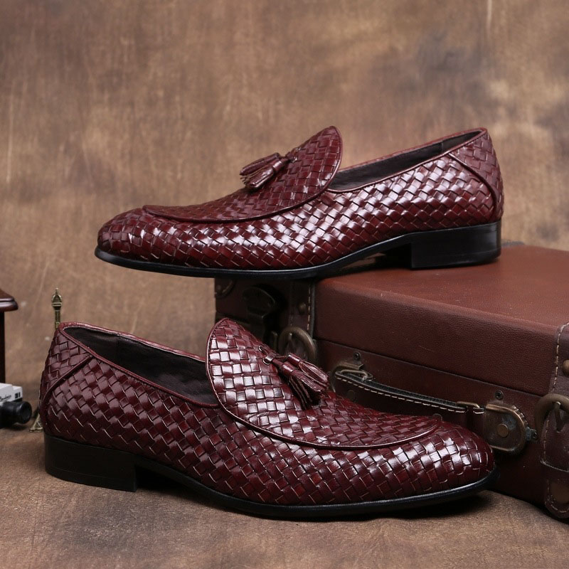 Couro Sapatos Preto Botas Calcados Preto Mycoron Dos vermelho Tecido Homens Designer Vinho Deslizamento Mocassins Luxo De Borla Em Masculino Vermelho Marca aqPxZwUva
