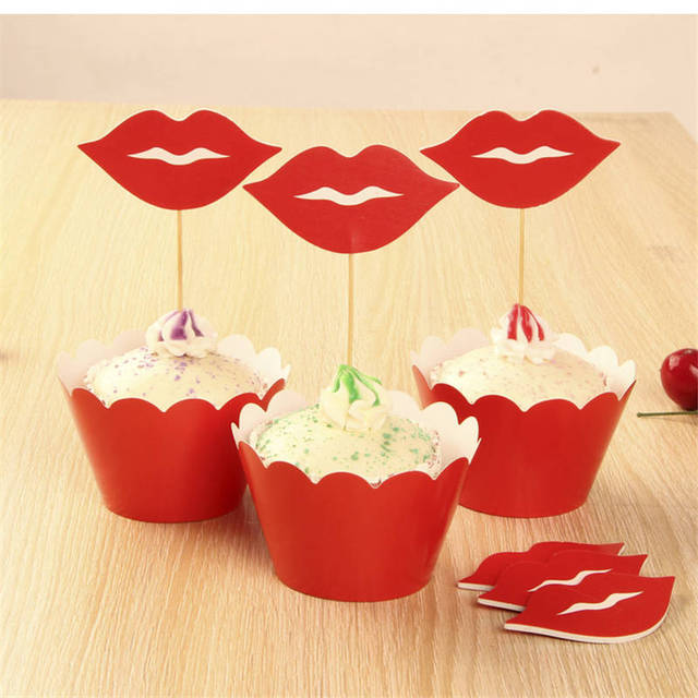 24pcs Lovely Small red lip cupcake topper birthday topper baby ...