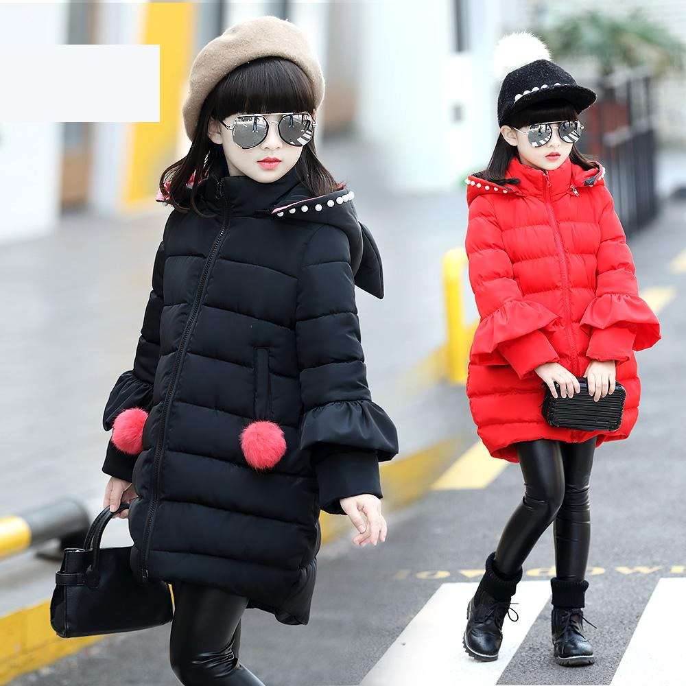 2017 new winter coat kids girls in children in the long hooded jacket are warm thickening trend of Korean style thick jacket children s 2017 winter new children s down jacket big girls in the korean version of the girls down jacket long thick coat