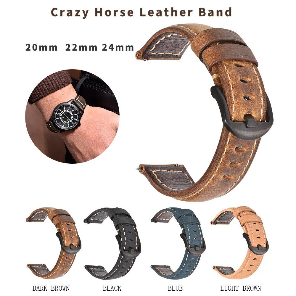 Image 2 - Beafity Crazy Horse Calfskin correa de reloj de cuero 20mm 22mm 24mm correas de reloj marrón claro Negro Azul verde cinturónCorreas de reloj   -