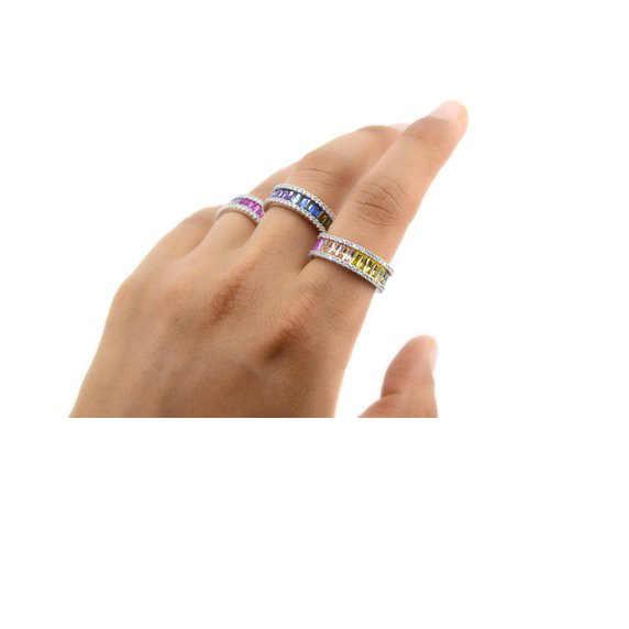 Arcobaleno colore della cz di fidanzamento band ring per le donne di Lusso splendido europeo dei monili delle donne di alta qualità completa cz eternity band ring