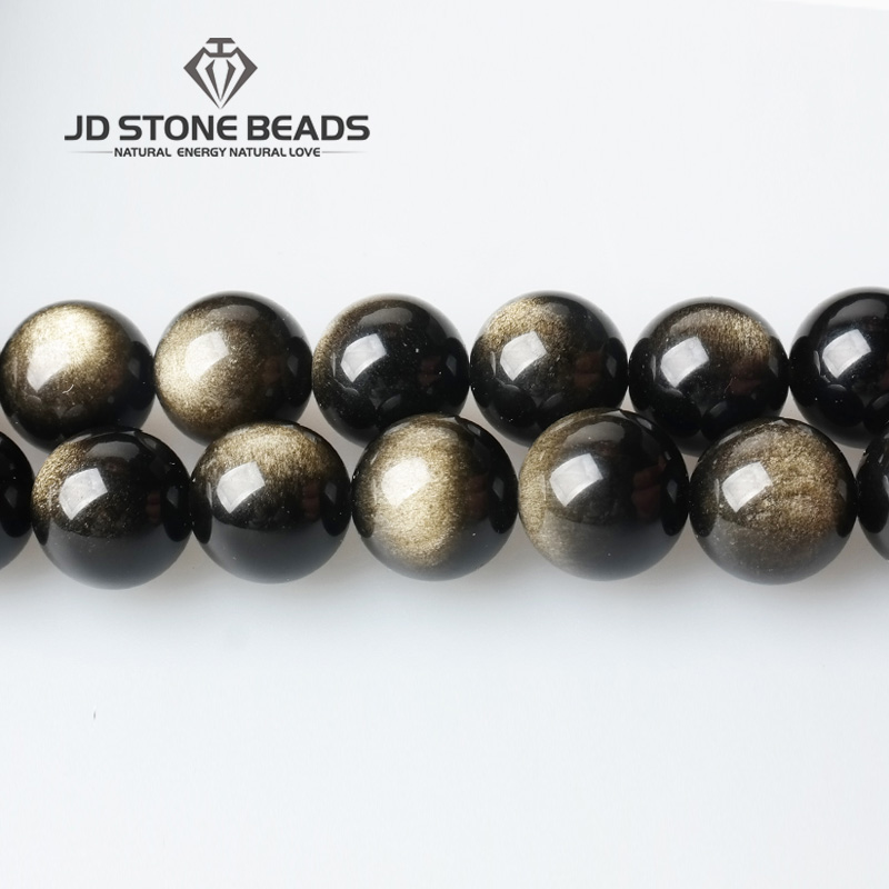Natural Gold Obsidian Gemstone Beads 4/6/8/10/12/14mm Pick Size Round Loose Stone Design Gift Accessory For Jewelry Making