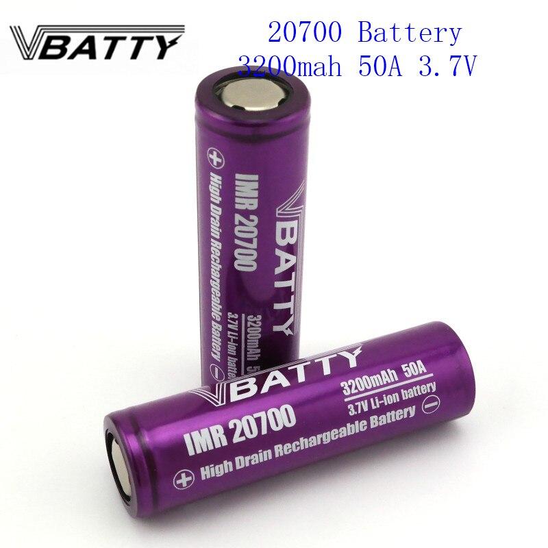 1pc/lot High Drain Vbatty 20700 3200mah 3.7V 50A Li-ion Rechargeable Battery 20700 Battery Very Cheap For E-cig