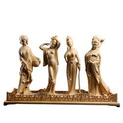 Houtsnijwerk Klassieke Vier Schoonheden Prachtige Massief Hout Decoratieve Carving Kamer Decoratieve Chinese Oude Craft Cijfers