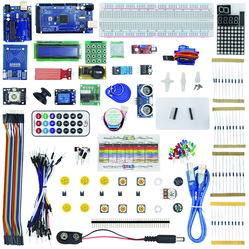 Starter Kit Mega 2560 for UNO R3 Stepper Motor SG90 HC-SR04 1602 LCD Battery Clip Breadboard Jumper Wire for UNO R3 for Arduino learning tools mega 2560 r3 board relay breadboard cable sensor kit for arduino deep blue