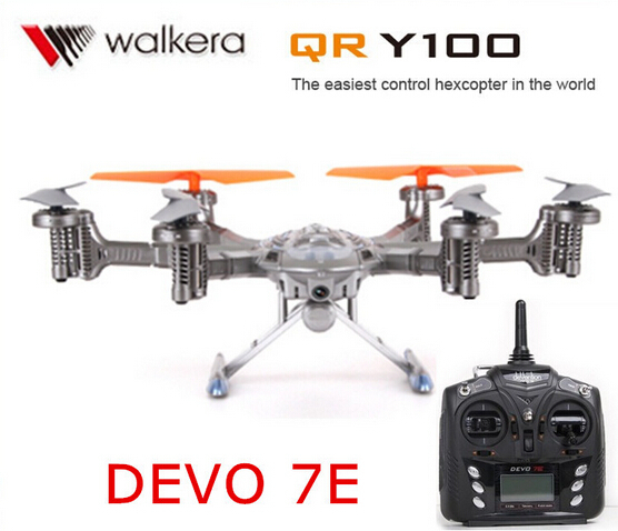 Original Walkera QR Y100 with DEVO 7E transmitter 6-Axis FPV Hexacopter Drone with Camera IOS/Android System phone Control RTF original walkera devo f12e fpv 12ch rc transimitter 5 8g 32ch telemetry with lcd screen for walkera tali h500 muticopter drone