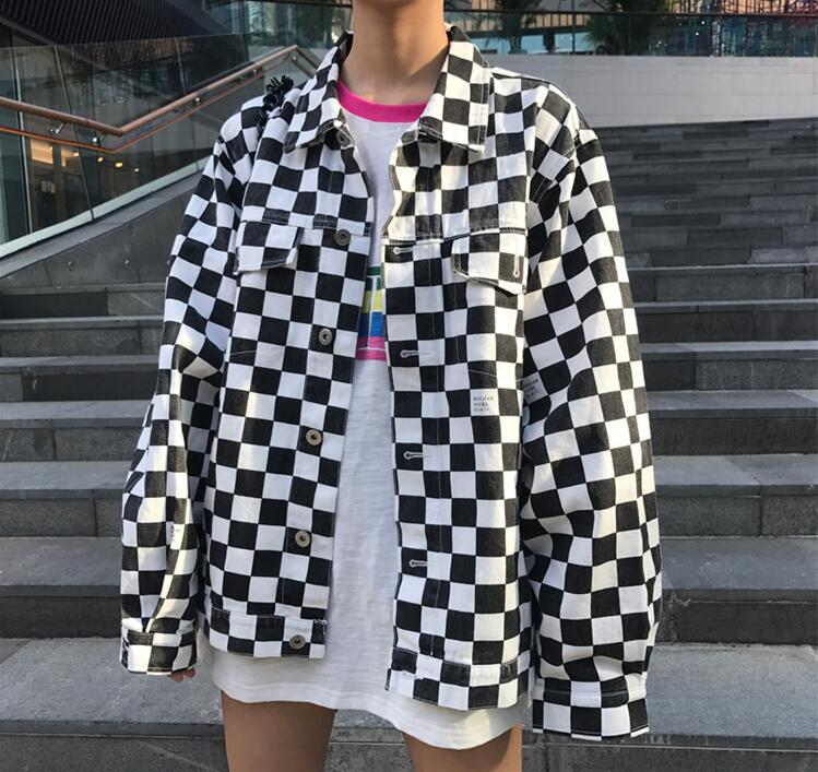Autumn and winter Korean of leisure lattice letter coat ...