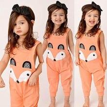 Детки нагрудник лиса оранжевый комбинезон девушка хлопок мультфильм одежда дети