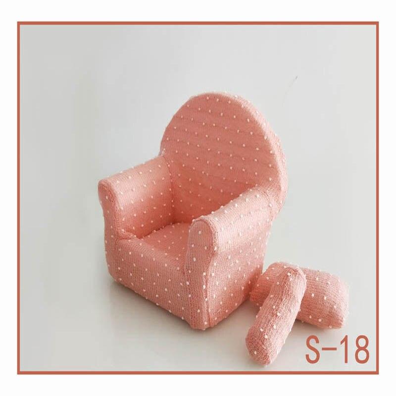 Реквизит для фотосъемки новорожденных, позирующий мини-диван, кресло на руку и 2 подушки, реквизит для фотосессии, студийные аксессуары для детей 0-3 месяцев - Цвет: 3
