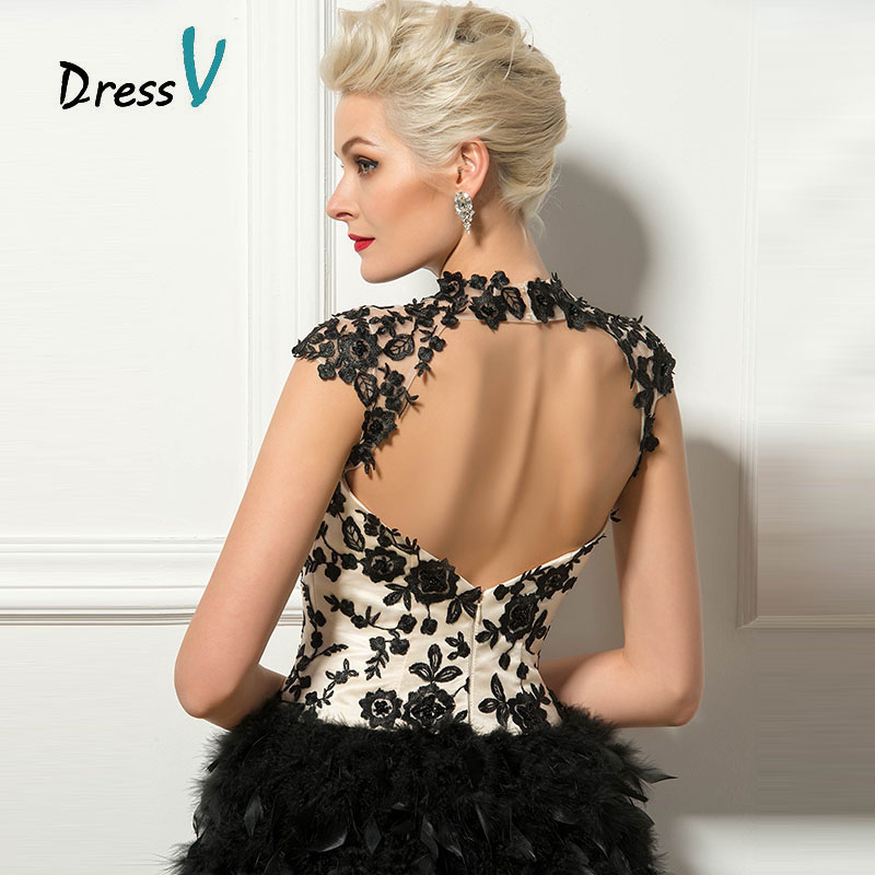 72e6d450dc2 Dressv Black Short Feathers Cocktail Dresses Sexy Backless High Neck Cap  Sleeves Lace Appliques Homecoming Party Cocktail Dress-in Cocktail Dresses  from ...