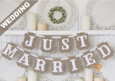 1Set JUST MARRIED Wedding Decoration Bunting Banner Flag Photo