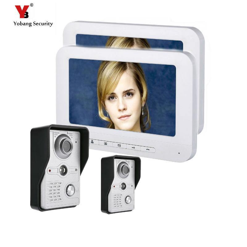 Yobang Security 7 LCD Video Door Phone Video Intercom Doorbell Home Security 2 Camera 2 Monitor With Night Vision Videoportero yobang security freeship 7 video intercom for villa 2 monitor doorbell camera with 5pcs rfid cards hd doorbell camera in stock