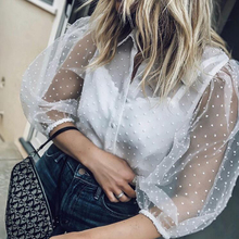 2019 New Blouse Women Dots Embroidery Mesh Top Shirts Office Female Loose  Casual Sexy Transparent