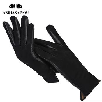 Proste krótkie damskie rękawiczki wysokiej jakości oryginalne damskie skórzane rękawiczki matowe skórzane czarne rękawiczki skórzane damskie-0717 tanie i dobre opinie anihasaiyou Kobiety Prawdziwej skóry Dla dorosłych Stałe Nadgarstek Moda