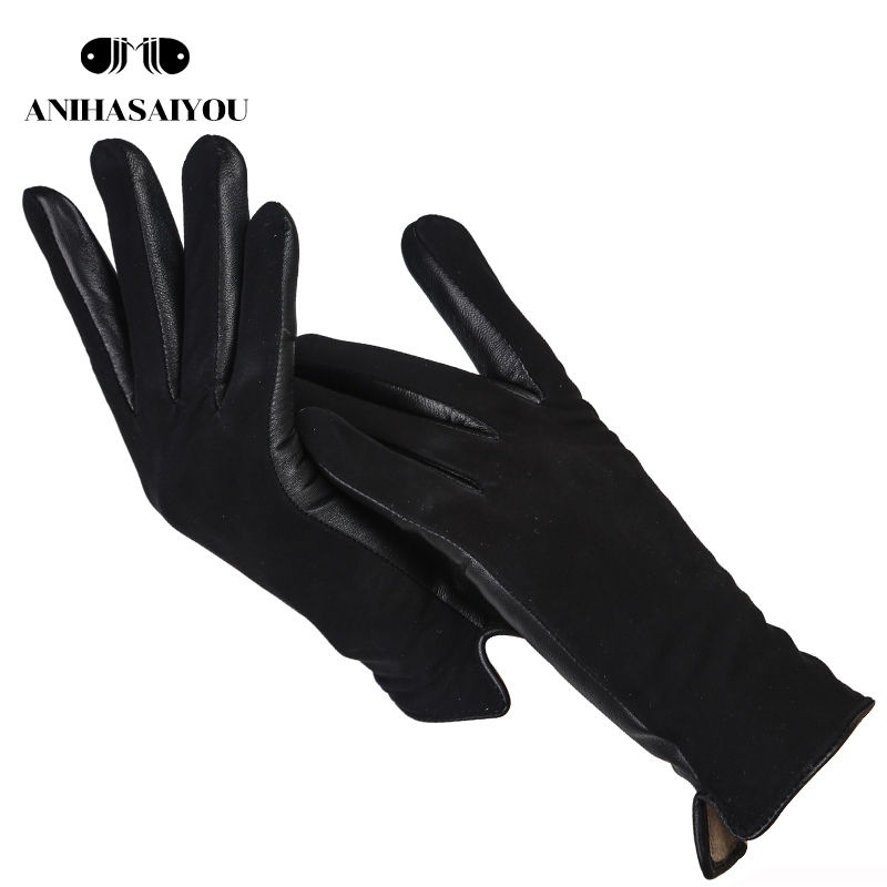Simple Short Women's Gloves,High Grade Genuine Women's Leather Gloves,Matte Leather Black Leather Gloves Women - 0717