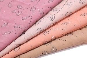 Image 4 - 10 pcs/lot Womens Bubble Chiffon Scarf Crystal Scarf Hijab Shawls Wraps Solid Color Muslim Hijab Scarf 20 Colors