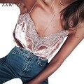 Z & KOZE Розовый Бархат кружева бретели топы Sexy v шеи партия майки женщины топы Осень уличной ремень cami новая Мода