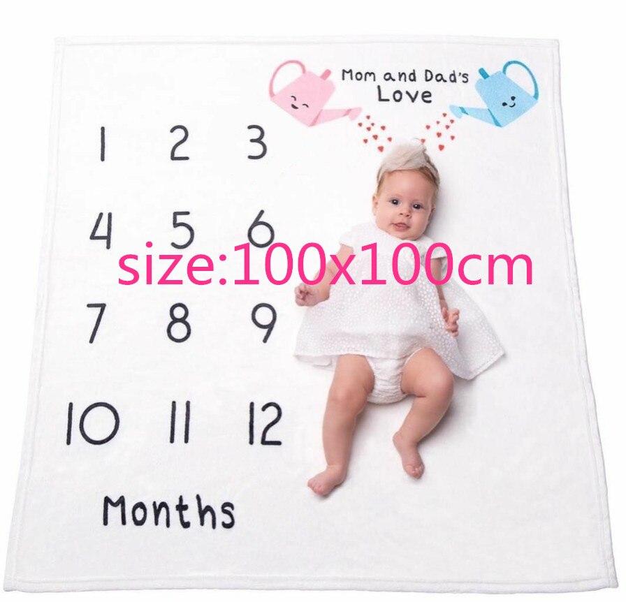 Baby Milestone Blanket Photography Background Prop-Soft Fleece for Mom Newborn Shower Gifts