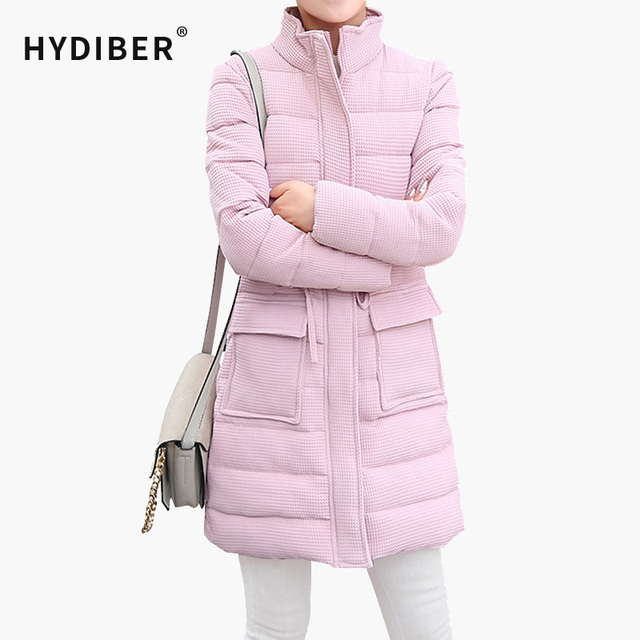 2016 Winter Coat Women Jacket Long Waffle Parkas Solid Stand Collar Cotton Padded Coat Jackets Elegant Wadded Warm Coats Tops