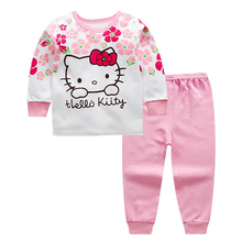 High Quality 100% Cotton Baby Clothing Set Toddlers Children Set Baby Boys Girls 2 Pcs Hello kitty Print Hot Sale-Pink 0-6y 2018