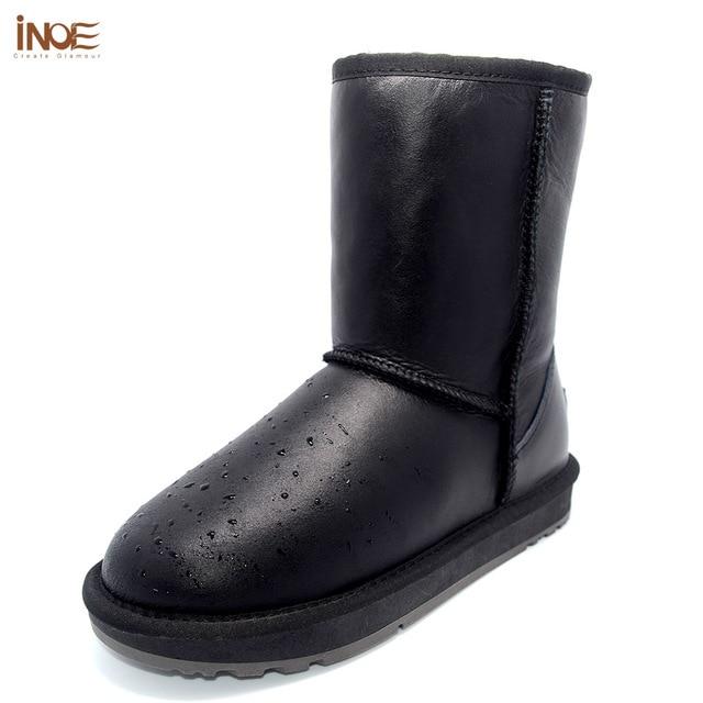 INOE Fur lined Waterproof Boots Women Sheepskin Mid Calf Boots Wool Fleece lining  Winter Footwear Leather Shoes Ladies Size 8 9 c793195f68