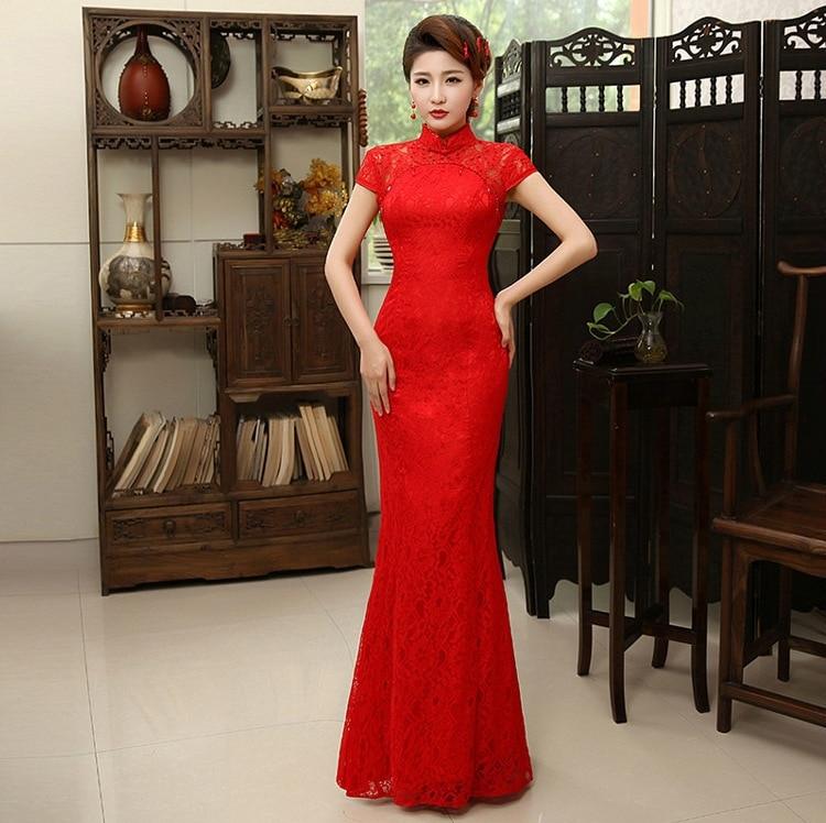 Shanghai Story high quality chinese dress lace short sleeve cheongsam bride wedding evening dress mermaid long
