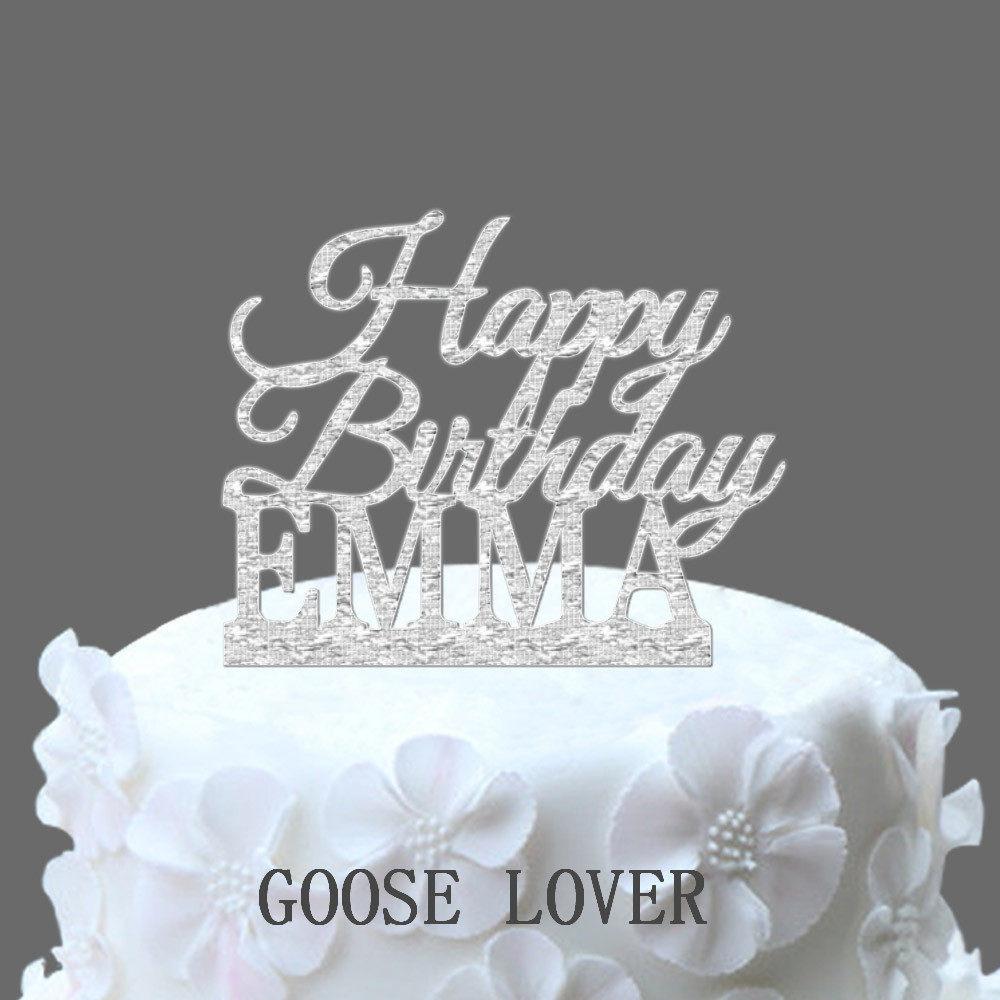 Custom Name Happy Birthday Cake TopperPersonalized Topper Gift