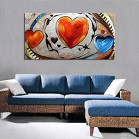 Modern abstract style art musical notation love heart oil painting hand painted colorful painting on canvas wall art home decor