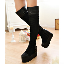 2014 new winter knee boots platform shoes comfortable fashion wild Round head Rivet Elevator shoes SIZE 34 – 39 XY322