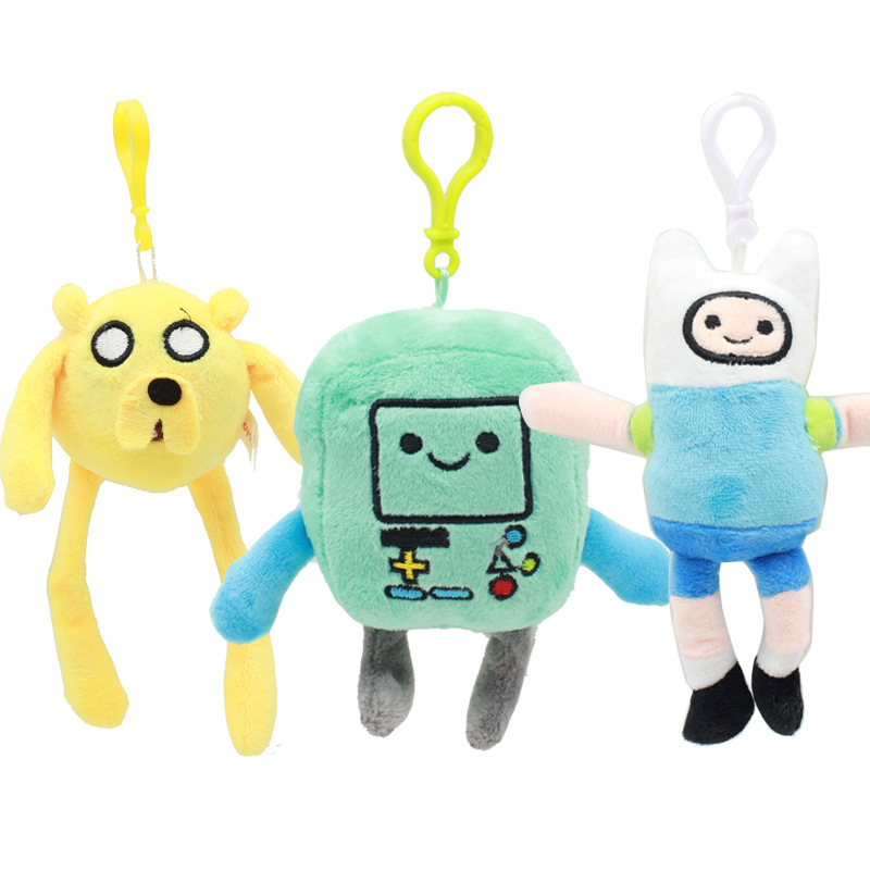3pcs/lot 12-15cm Adventure Time Finn Jake BMO Plush Keychain Toys Cute Adventure Time Plush Pendant Soft Stuffed Toys Doll Gifts
