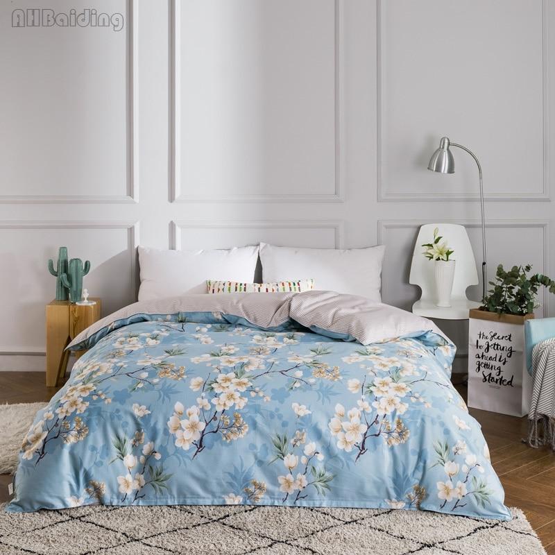 100% Katoen Bloemen Serie Beddengoed Set Beddengoed Bed Set 1 Pc Dekbedovertrek Met Rits Twin Volledige Koningin Koning Size Dekbedovertrek Hot Fancy Colors