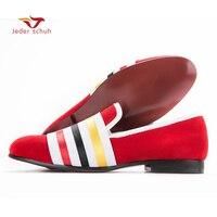 Hommes mocassins chaussure rouge supérieure bandage conception, trois sortes de couleur bande hommes fumeurs slipper Flats hommes banquet chaussures