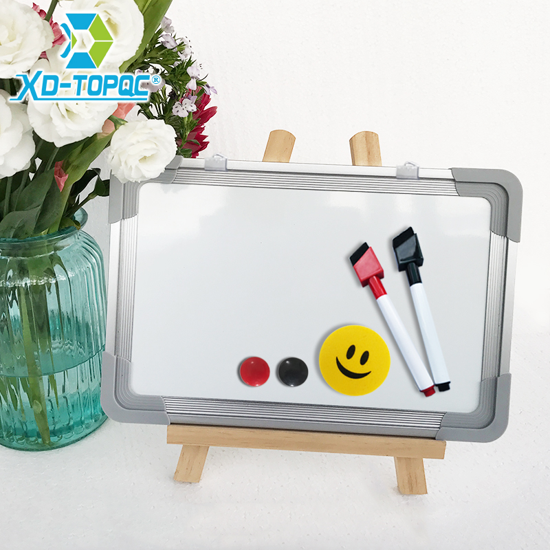 Dry Wipe Magnetic 20*30cm Whiteboard Imitation Aluminium Plastic Frame Double Sided White Memo Board Wood Easel Free Gift PW01