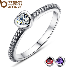 BAMOER 3 Colors Authentic 100% 925 Sterling Silver Ring Love Heart Ring Original Wedding Jewelry PA7107