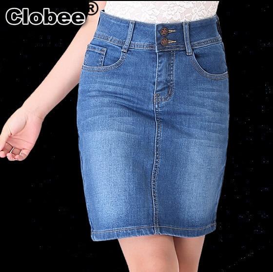 2017 Women Summer Saias Sociais Plus Size Jeans Skirt Ladies Denim Long  Denim Pencil Skirts XXXL 4XL 5XL 6XL Femininas CD476 5a0bdb96dd2f