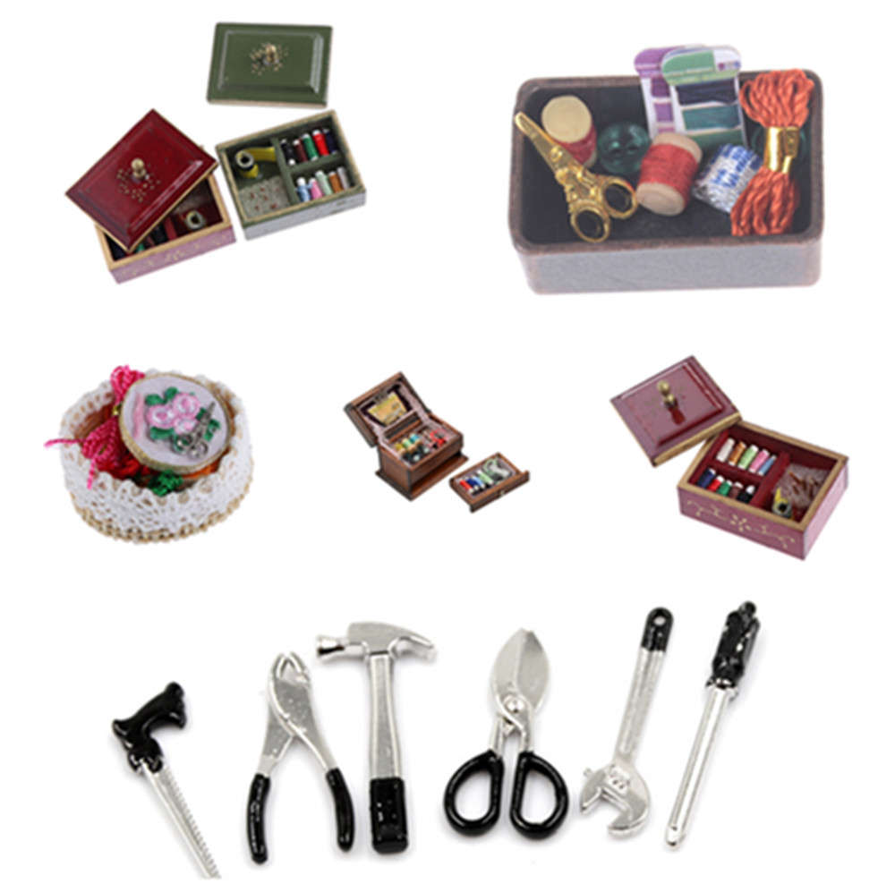 1:12 Miniature Vintage Sewing Box With Needle Scissors Kit Dollhouse Decoration Accessories Furniture Toy Xmas Gift For Baby