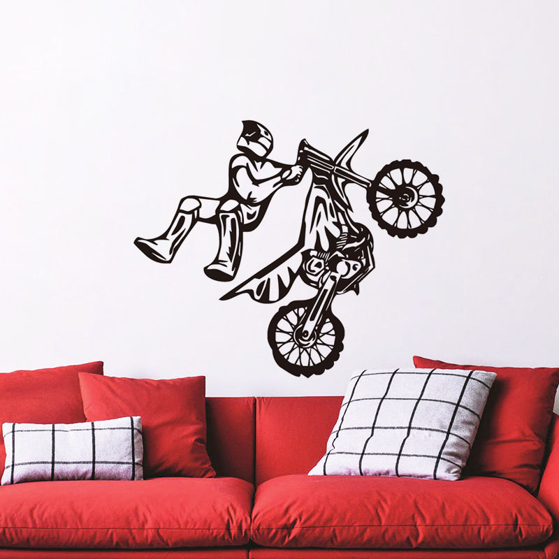 DCTOP Creative Stunt Bike Wall Art Sticker Removable PVC Vehicle Wall Decals Boys Bedroom Home Decor Adhesive