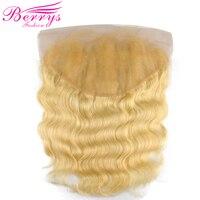 Блондинка фронтальные Синтетическое закрытие волос 13x6 бразильские Средства ухода за кожей волна Человеческие волосы Синтетический Frontal шн