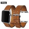 IStrap Коричневый Ремешок Для Apple watch 38 мм 42 мм Высокое Качество натуральная Кожа Ремешок Для Часов 38 мм 42 мм Apple watch группа Супер мягкий