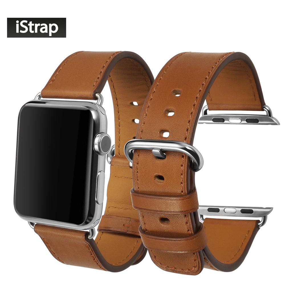 Prix pour IStrap Bracelet Brun Pour Apple watch 38mm 42mm Haute Qualité véritable Bracelet En Cuir Pour 38mm 42mm Apple watch bande Super doux