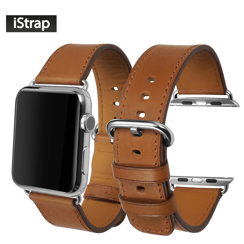 iStrap Brown Strap For Apple watch 38mm 42mm High Quality Genuine Leather Watchband For 38mm 42mm Apple watch band Super soft стоимость