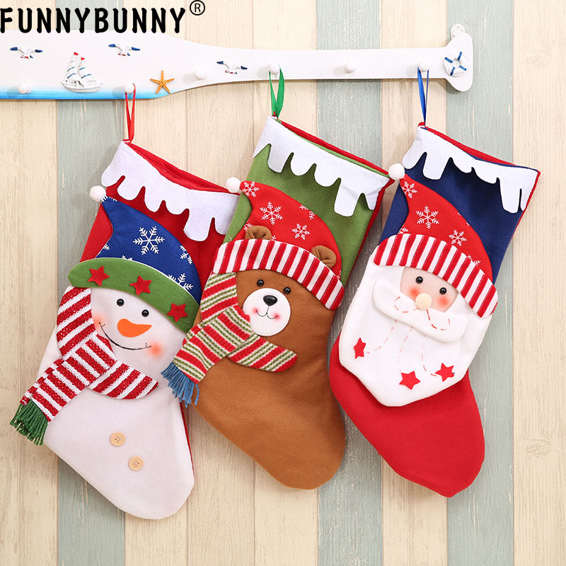 FUNNYBUNNY Christmas Stockings Tree Ornament, Santa Claus Candy Bags Large Hanging Socks for Xmas Decoration