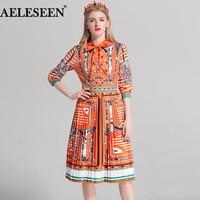 Runway Boho Stars Patchwork Print Women Dresses Fashion Three Quarter Sleeve 2018 Bow Collar Pleated Luxury Summer Dress