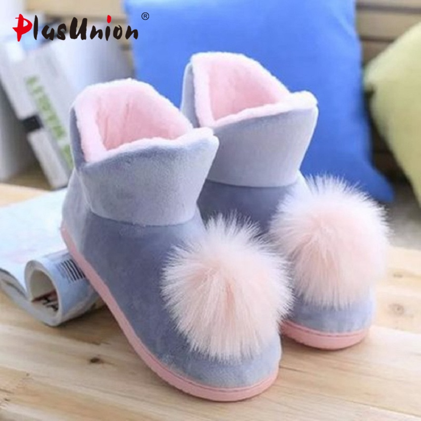 Lovely Ladies Crystal Plush Home Slippper Warm Boots Floor Bs