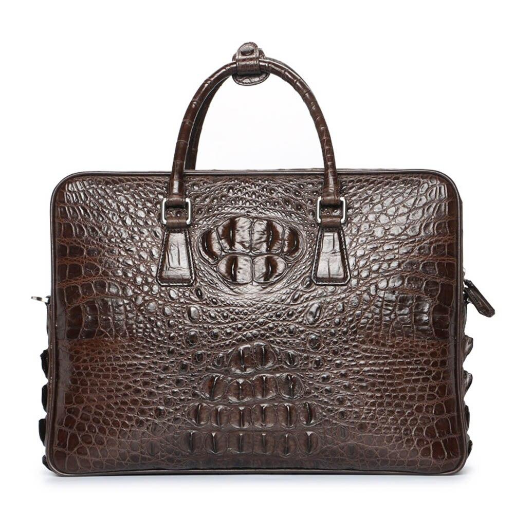 New Luxury Brand crocodile Leather Men Laptop Bag Briefcase Fashion Men's Business Bags Casual Leather Messenger Bag for Men цена 2017
