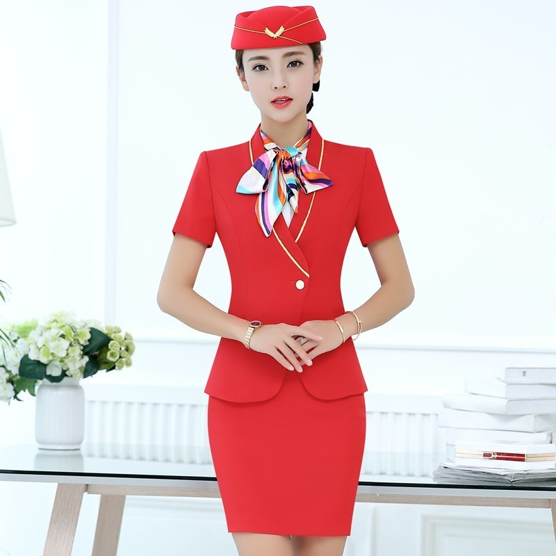 Novelty Fashion Red Formal Women Business Suits With Tops And Skirt Ladies Office Work Wear Professional OL Styles Blazers Sets