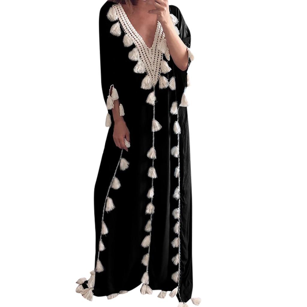 100% Quality Bohemia Sexy Dress Women Ethnic Style Dress Fashion Summer Style Robe Femme V-neck Tassel Beach Holiday Party Dress Vestidos